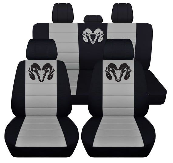 Front And Rear Seat Covers For A 2012 To 2018 Dodge Ram In Black And Silver Airbag Friendly In 2020 Dodge Ram 1500 Accessories Dodge Ram Accessories Dodge Ram Truck Accessories