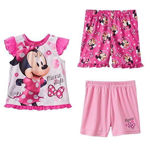 DISNEY Minnie Mouse Toddler Girls 3-Piece Pajama Set, 1 top, 2 short, Size 2T  -  Style #MI085TSKKL - sleepwear pajamas pjs sleep night pink white black ruffle short sleeve top shirt elastic waist band shorts disney junior jr cartoon tv show character. AVAILABLE WHILE SUPPLIES LAST!   https://www.amazon.com/dp/B074XK5CXG/ref=cm_sw_r_pi_dp_x_6z1NzbQYKKWA9