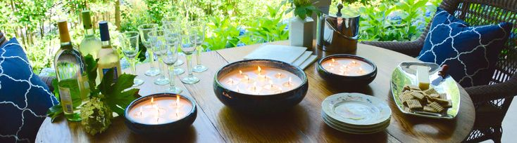 Large Citronella Candles In Decorative Pottery