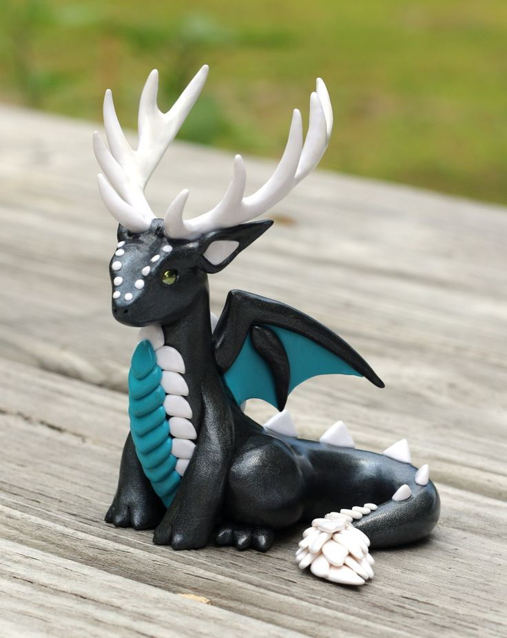 Graphite Pearl, Teal and White Antlered Dragon Sculpture, Fantasy Animal Art Figurine by MiniMythicalMonsters on Etsy