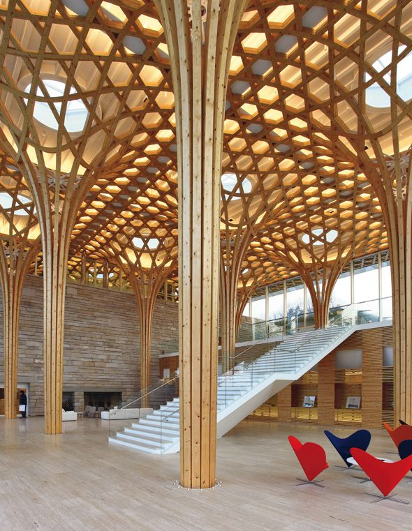 enochliew: Haesley Nine Bridges Golf Clubhouse by Shigeru Ban Using advanced computer and cutting machine technology, it was able to find the most efficient structural form and minimize the assembly process and quantity of timber used.