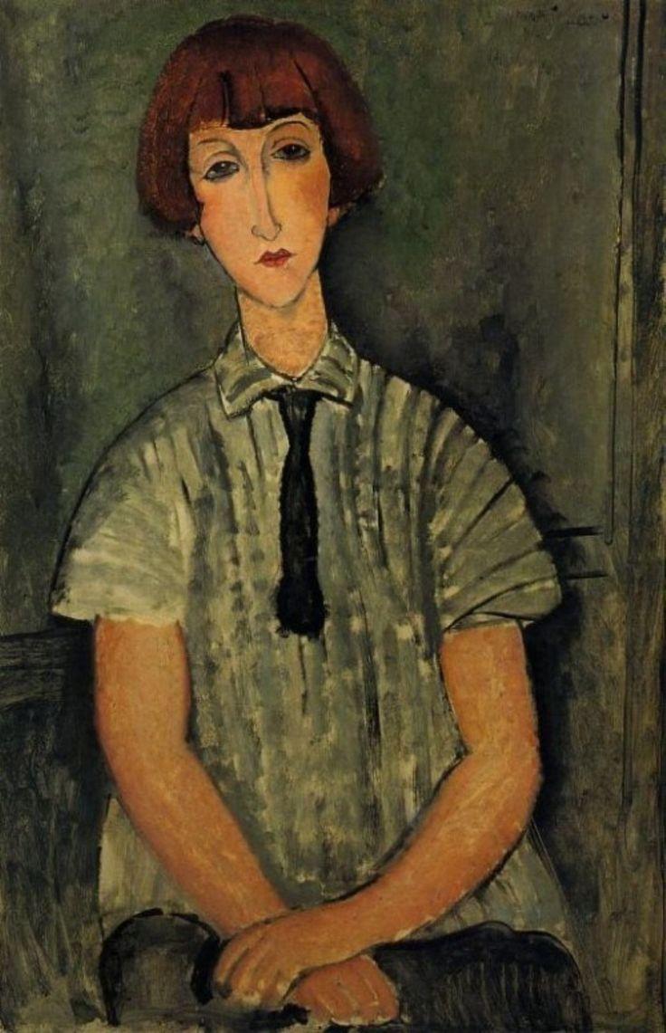 Ritrato di bambina con la camicetta a righe di Amedeo Modigliani