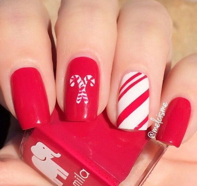 Best 25+ Candy cane nails ideas on Pinterest   Christmas ...