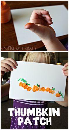 Thumbprint Pumpkin Patch Art Project #Halloween craft for kids! #Fall…