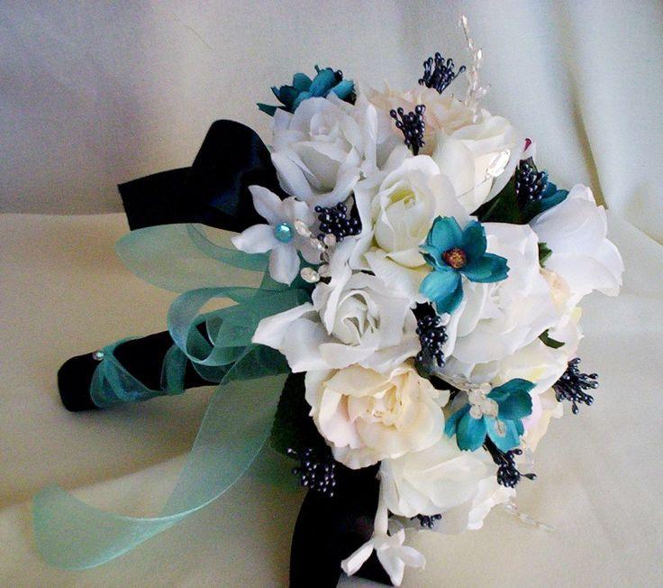 Turquoise Wedding Flowers Bridal bouquet Black Aqua Tiffany Blue. $98.00, via Etsy.