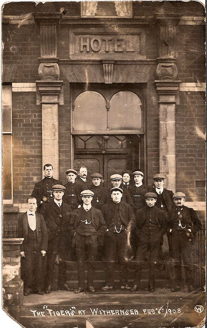 Hull City players gathered outside the Queens Hotel in Withernsea, February 1908.   Taken as the players prepare for a big game against Leeds City.
