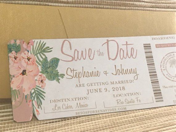 Beach Save the Date. Boarding Pass Invite. Magnet Save the Date. Tropical wedding invitation. Mexic