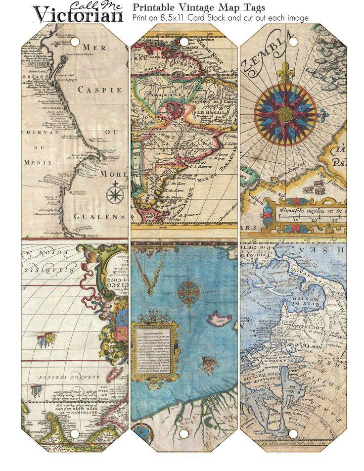Free Printable Vintage Map Tags
