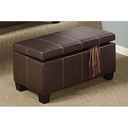 Espresso Bi-cast Leather Storage Bench Ottoman.  Overstock.com $161