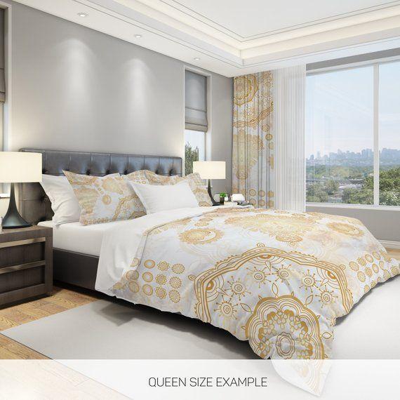 White And Gold Comforter Mandala Comforter Boho Comforter Etsy White And Gold Comforter White And Gold Bedding Modern Bed White and gold comforter sets