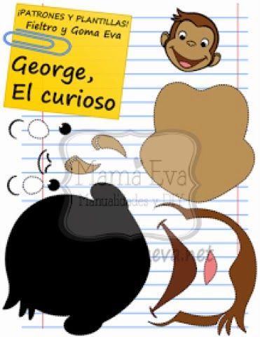 !!!!♥ Feltro-Aholic Moldes e tutoriais em feltro: Molde George o Curioso