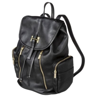 "Target Limited Edition Backpack Handbag with Gold Zippers - Black   ""Tried this on"" and loved it!  Gold is brighter in person.  Great for holiday travel."