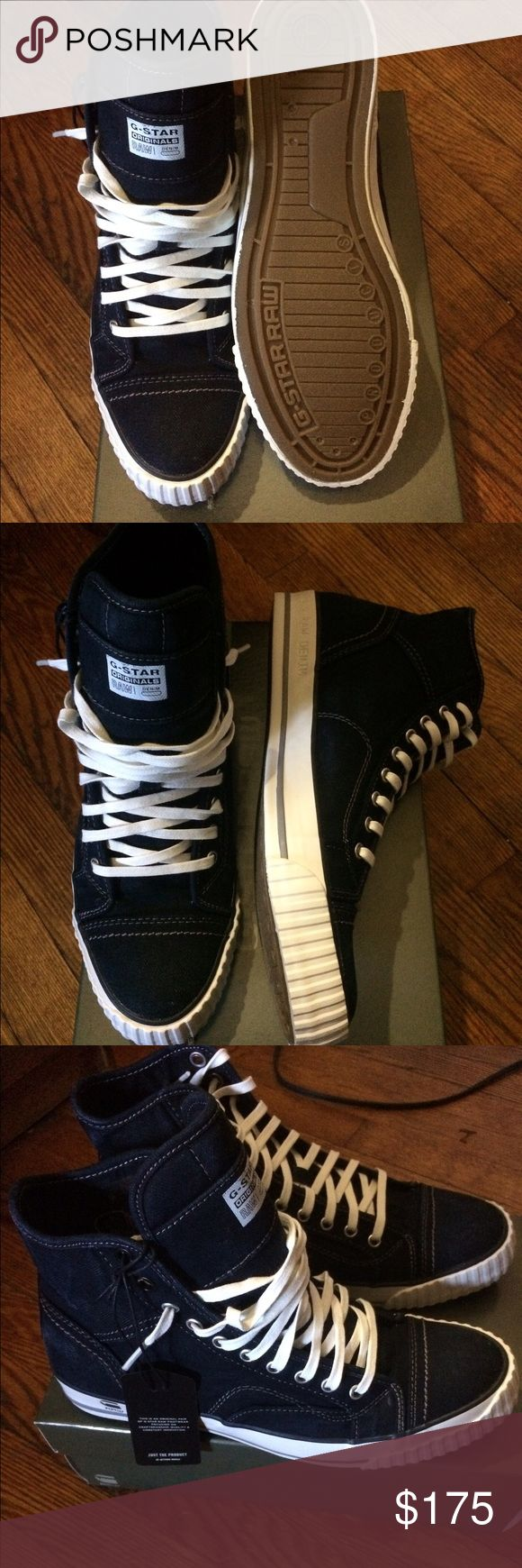 G STAR RAW HIGH TOP SNEAKERS DENIM G STAR RAW SNEAKERS!!! NEVER WORN!!! NEW WITH TAGS IN BOX!!!! SIZE 9 G-Star Shoes Sneakers