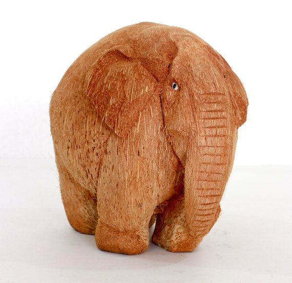 Exclusive Elephant Figurine  Hand Coconut wood carved by ICMCM, €14.00