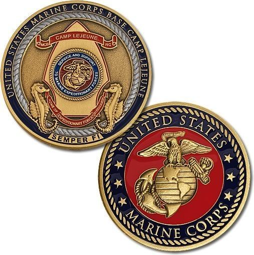 "U s Marine Corps Base Camp Lejeune ""Semper Fi"" USMC Bronze Challenge Coin   eBay"
