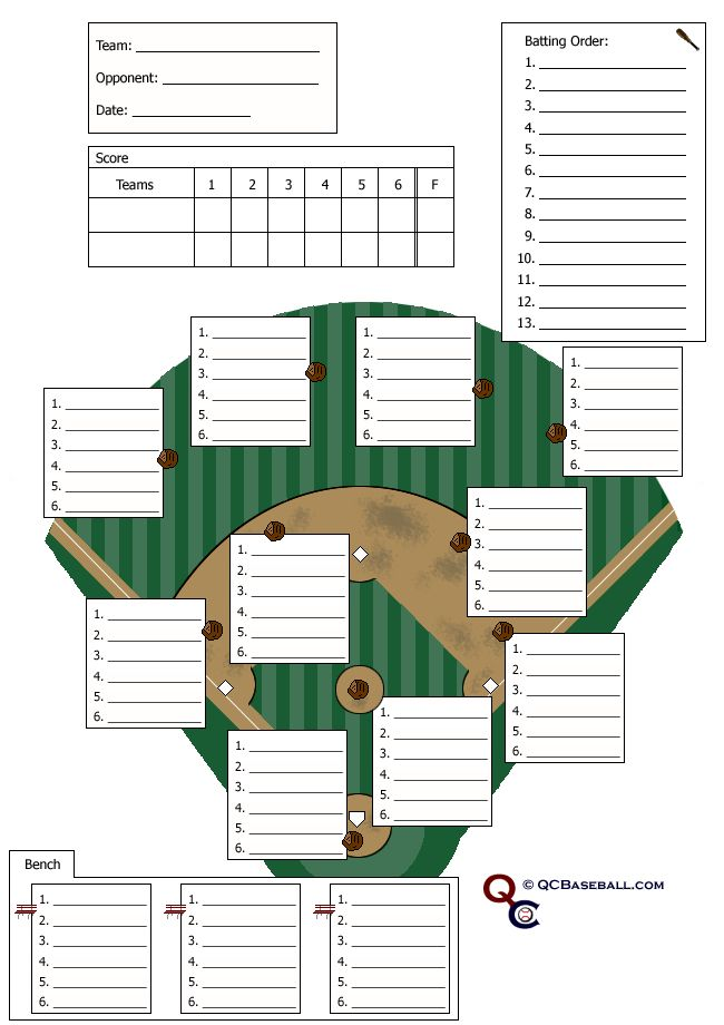 baseball lineup card - Google Search