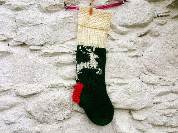 Hand knit Christmas stocking Christmas gift