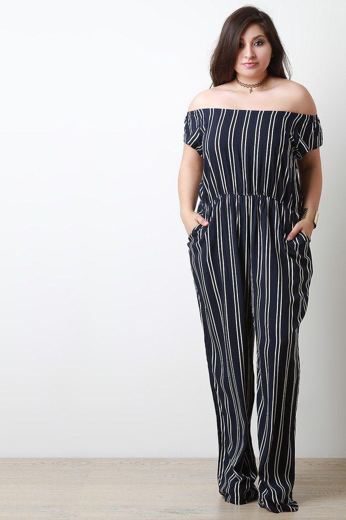 03f77139554 Off-The-Shoulder Stripe Jumpsuit