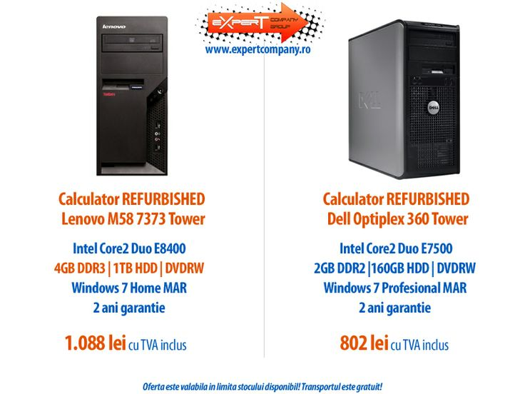 Nou in oferta Expert! Calculatoare TOWER Dell Optiplex 360 si Lenovo M58 7373 - REFURBISHED! Le poti achizitiona cu licenta Windows 7 Home sau Windows 7 Pro la preturi foarte bune!