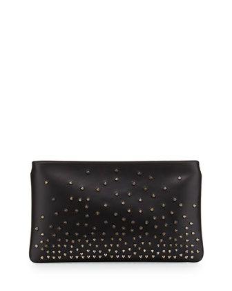 Loubiposh Degrade Spiked Evening Clutch Bag, Black/Gunmetal by Christian Louboutin at Neiman Marcus.