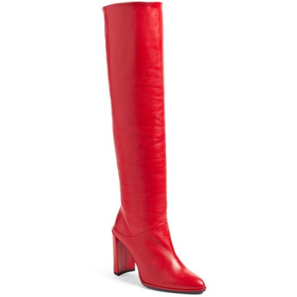 Women's Stuart Weitzman Smashing Knee High Boot ($775) ❤ liked on Polyvore featuring shoes, boots, red nappa, slipon boots, stuart weitzman knee high boots, stuart weitzman, stuart weitzman boots and slip on boots