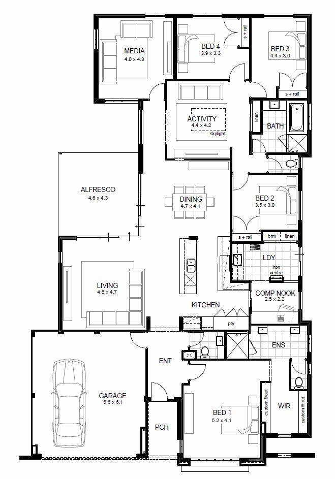 20 039 Wide House Plans Inspirational 18m Wide House Designs Perth Open House Plans House Floor Plans Floor Plan Design