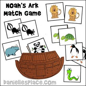 Noah's Ark Bible Match Game from www.daniellesplace.com