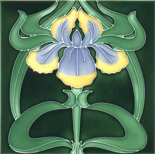 Historic Tiles - Tube Lined Art Nouveau Tiles - Repeating Iris