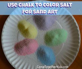 Come Together Kids: Use Chalk to Color Salt for Sand Art