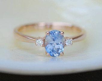 Lavender Sapphire Engagement Ring. Promise Ring. Oval engagement ring. 3 stone rings. Rose gold engagement ring. Gemstone ring Eidelprecious
