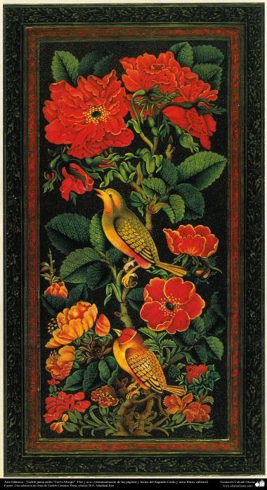 "Islamic Art - Tazhib Persian style ""Gol-o Morgh"" - flower and bird - 5"