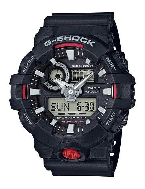Casio G-Shock Analoog Digitaal en zwart  GA-700-1AER. Dit mooie en stoere horloge heeft een Superilluminator. Met een knop kan het display in een heldere populaire kleur verlicht worden. De wijzers en de index zijn voorzien van een fluorescerende laag waardoor de wijzers in het donker oplichten als het horloge kort daarvoor aan het licht is blootgesteld. De wereldklokfunktie geeft de de tijd in maximaal 29 verschillende tijdzones aan.
