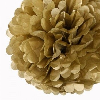 Gold 40cm Tissue Paper Pom Poms | The Party Cupboard