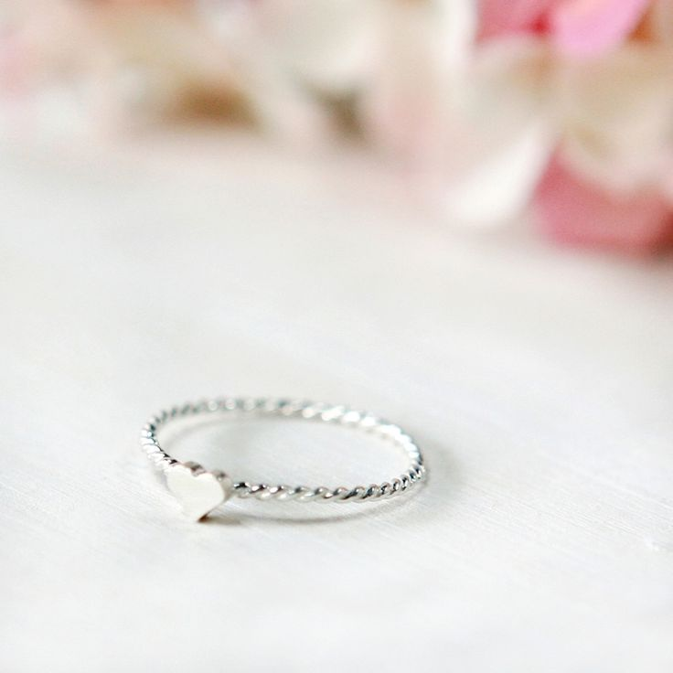 Sterling silver twisted Heart Pendant Ring. Wear the ring by itself for modest look.