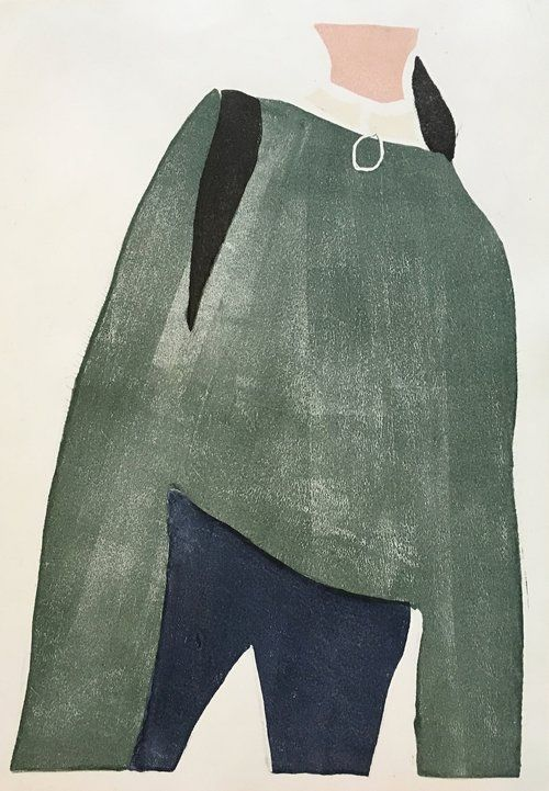 Green Sweater Monotype Renée Gouin
