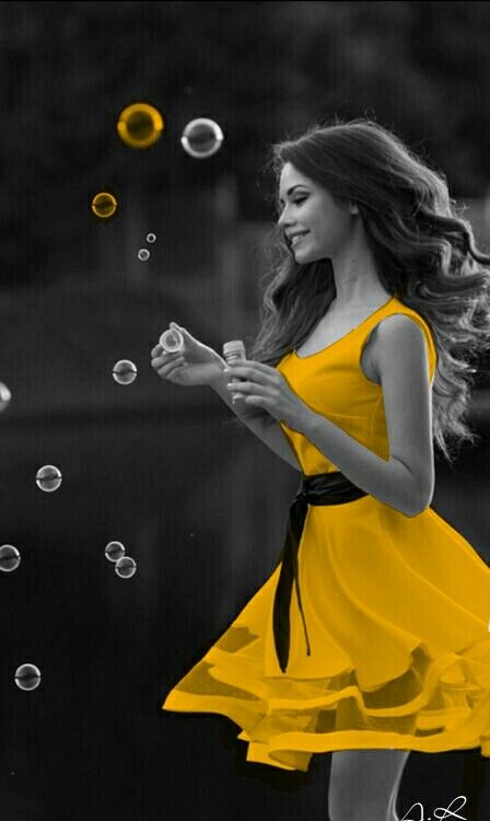 touch of color yellow dress and bubbles