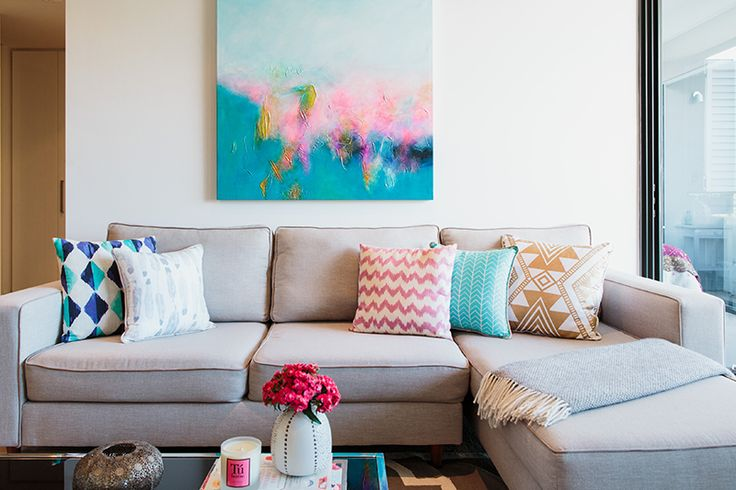 Rushcutters Bay Apartment - Emma Blomfield Interior Stylist Sydney. Living Room. Pink and Blue Painting. Tribal and Geometric Patterns. Soft Colours.