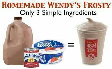 Home Made Wendy's Frosty 1/2 gal. chocolate milk, 1 (14 oz.) can Eagle Brand milk, 1 (8 oz.) Cool Whip Mix well and freeze. Mixture does not get hard, more like a thick milk shake.