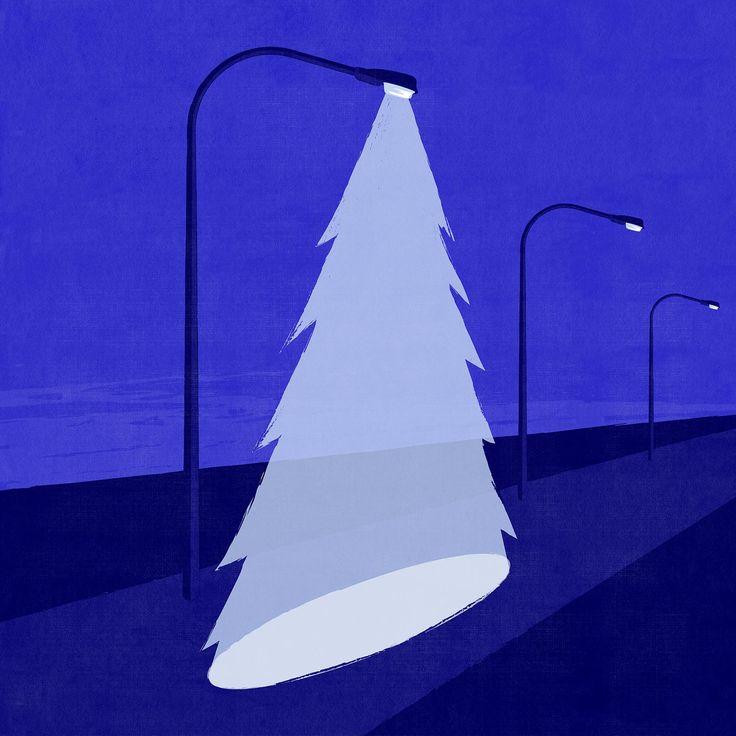 Cold Christmas ©Benedetto Cristofani, all right reserved #christmas #christmasnight #christmastree #light #night #illustration #editorial #editorialillustration #conceptual #conceptualillustration #graphic #graphicdesign