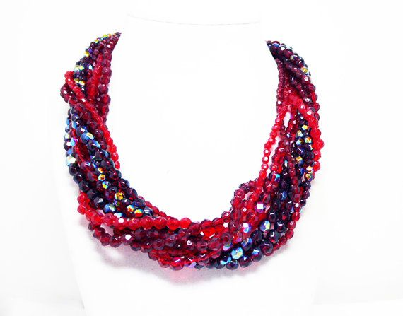 New Listings Daily - Follow Us for UpDates -  Merry Christmas Sale - 20% off Multi Strand Red Necklace - 9 Strands - Beaded Choker Length - Shades of Red - Iridescent, Ruby Red, Light Red, Faceted Beads - Retro 1990's ... #vintage #jewelry #teamlove #etsyretwt #ecochic ➡️ http://etsy.me/2gx40s0