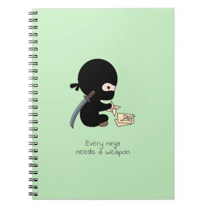 Tiny Ninja Making Origami Paper Throwing Star Notebook  $15.40  by Chibibi  - cyo diy customize personalize unique