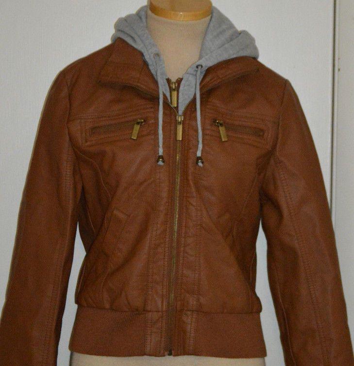 Ladies Rue 21 Tan Gray Hoodie Synthetic Leather Jacket Coat Juniors Sizes S, M #rue21 #BasicJacket