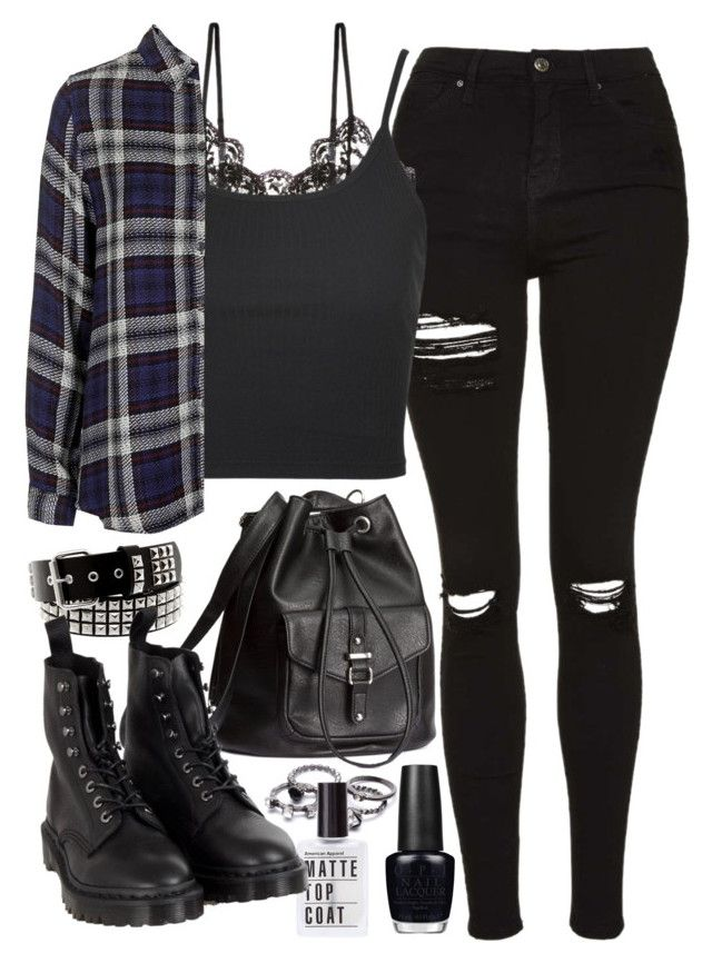 """Requested outfit"" by ferned ❤ liked on Polyvore featuring Topshop, Hanky Panky, H&M, OPI and Dr. Martens"