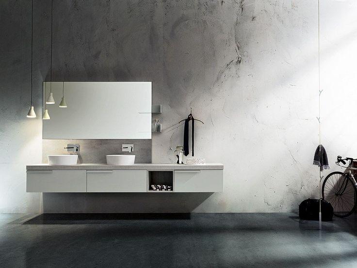 Mueble bajo lavabo doble suspendido PLAY NEW 4/9 by Cerasa diseño Stefano Spessotto, Lorella Agnoletto