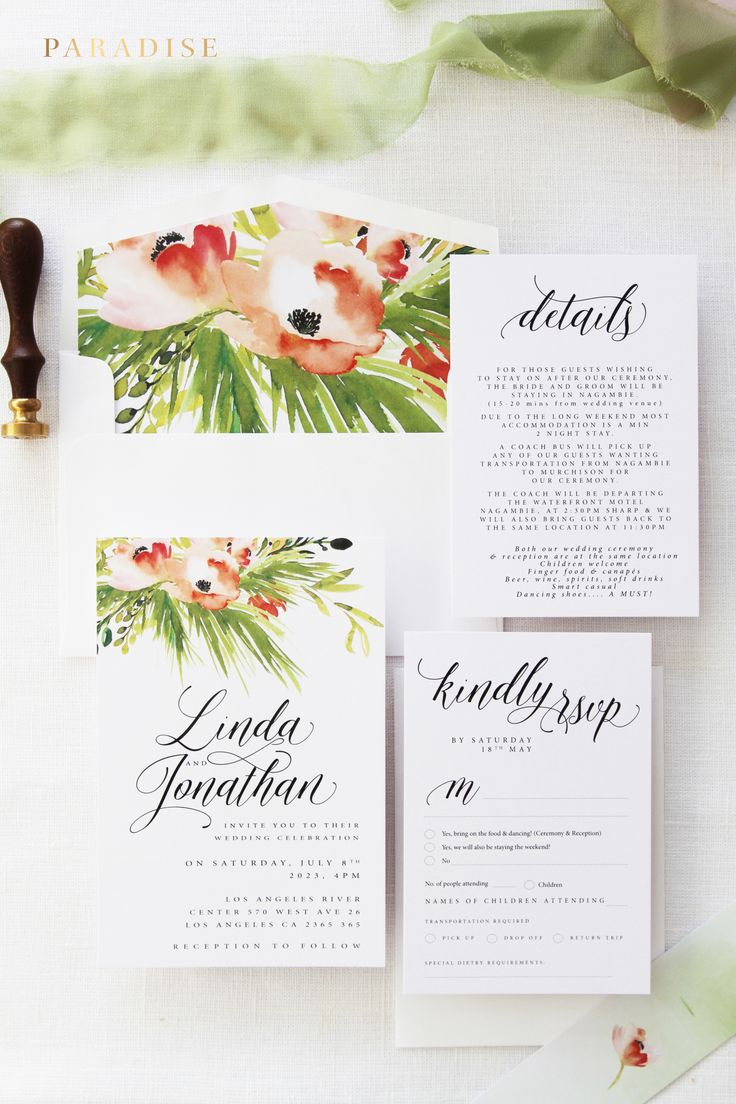 wildflower wedding invitation templates%0A Linda Green and Coral Orange Wedding Invitation Kits  Beach Wedding  Invitations  Joyful Invitations