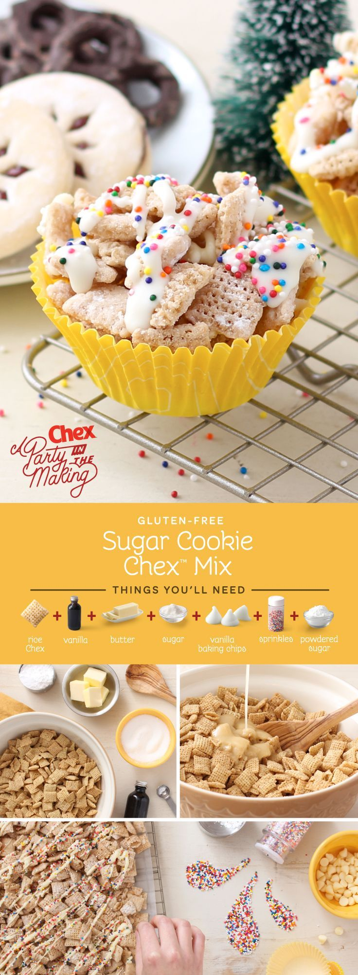 We bet no one else at your cookie exchange will bring this one! Homemade Sugar Cookie Chex Mix gives you all the flavor of your favorite holiday cut-outs without even turning on the oven. Plus it's gluten free!