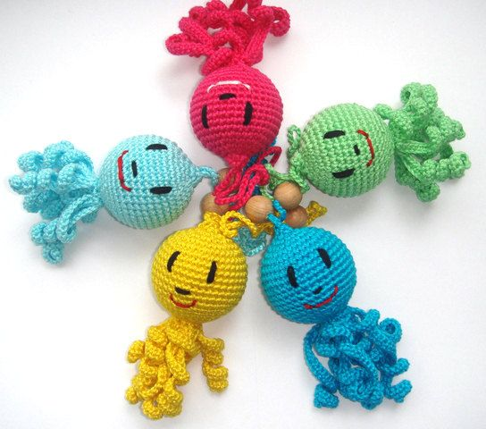 Octopus Baby toy Octopus Rattle Hanging baby by MiracleFromThreads