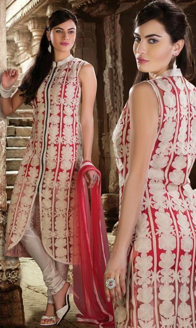 USD 101.8 Red Embroidered Net Designer Salwar Kameez 30570