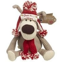 """Large 10"""" Boofle Plush Toy. Boofle is a snugglesome pup that is loveable and cuddly and a best friend for everyone. This boofle is wrapped up in a hat and scarf ready for winter.     Tag reads: 'One in a million xxx'"""