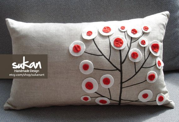 Pen Pattern Raw Pure Linen Pillow Cover Red by sukanart, $43.00